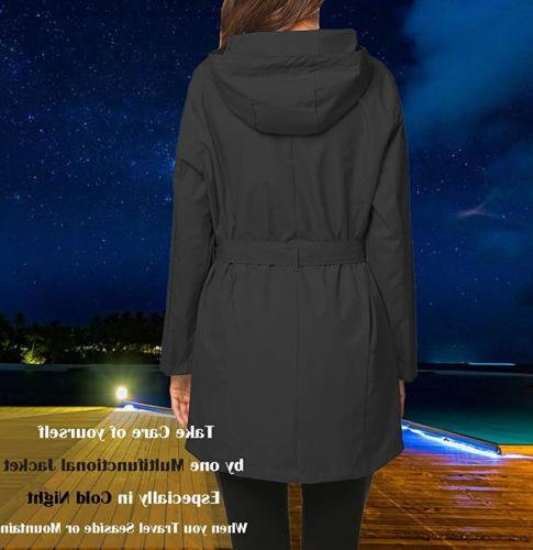 ZHENWEI Rain Jacket Women Plus 2XL Raincoat Winter Rain Coat Black