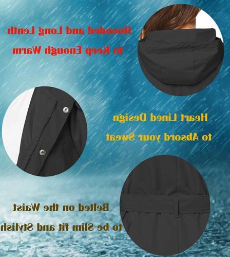 ZHENWEI Jacket Women Plus 2XL Raincoat Winter Rain Black