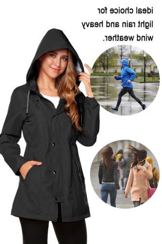 ZHENWEI Rain Jacket Women Waterproof Hood Raincoat