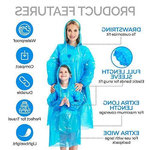 Dryzle Rain Pack 12 Emergency Raincoat Ponchos for Children Drawstring Lightweight or Reusable