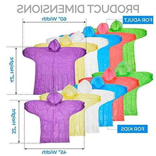 Dryzle Poncho Family Pack Raincoat Kids, Children and Adult Drawstring or Gear