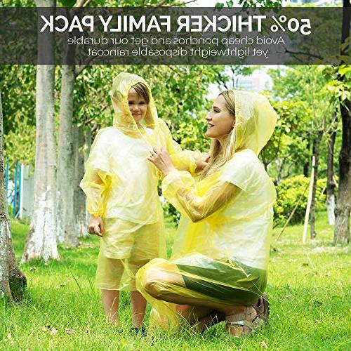 Dryzle Rain Poncho Family Pack - Raincoat Ponchos for Children and Adult or Rain Gear