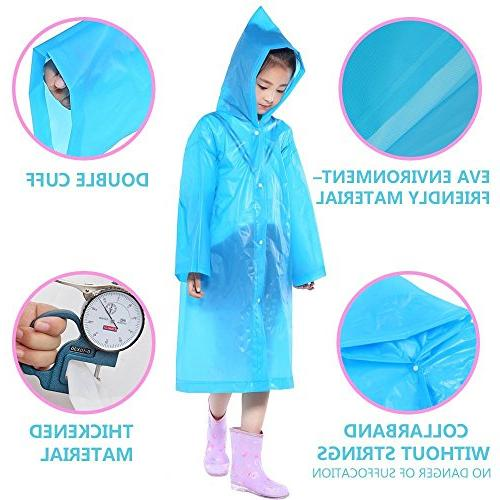 AzBoys 2Pack,Blue Poncho Raincoat Girls Ages