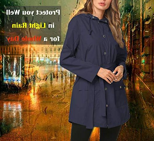 Rain Coat Women Belted Outdoor Blue XL