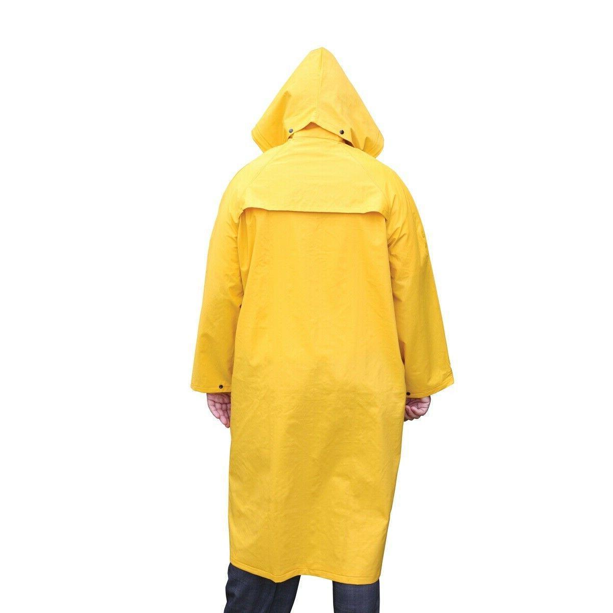 "Safety Coat Yellow Rain Jacket 49"" Detachable Hood .35mm / Polyester"