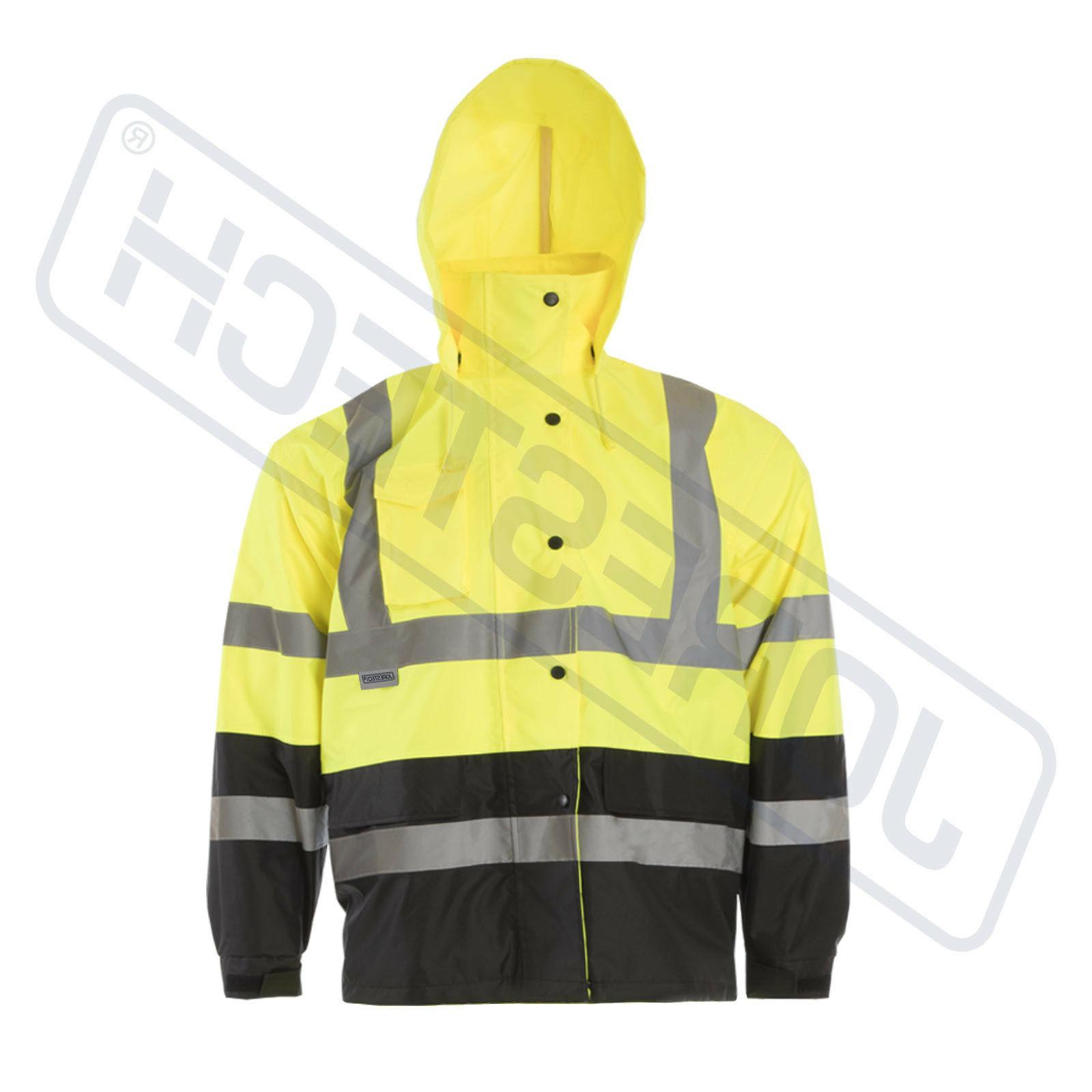 Safety Rain Jacket Green Raincoat w S-5XL