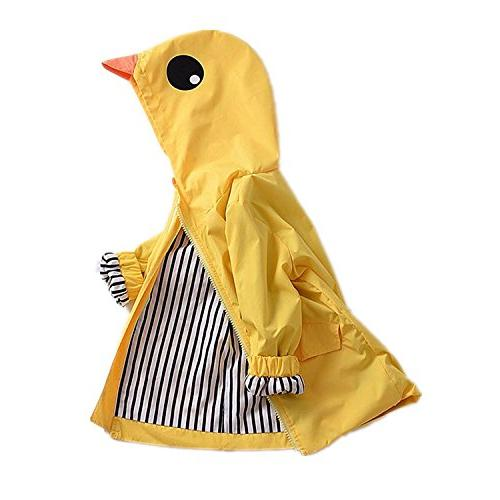 Toddler Baby Boy Girl Duck Raincoat Cute Cartoon Hoodie Zipp