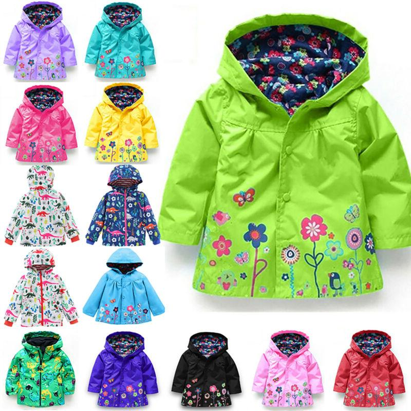 Baby Girls Kids Hooded Raincoat Coat Jacket Winter Rain Wear