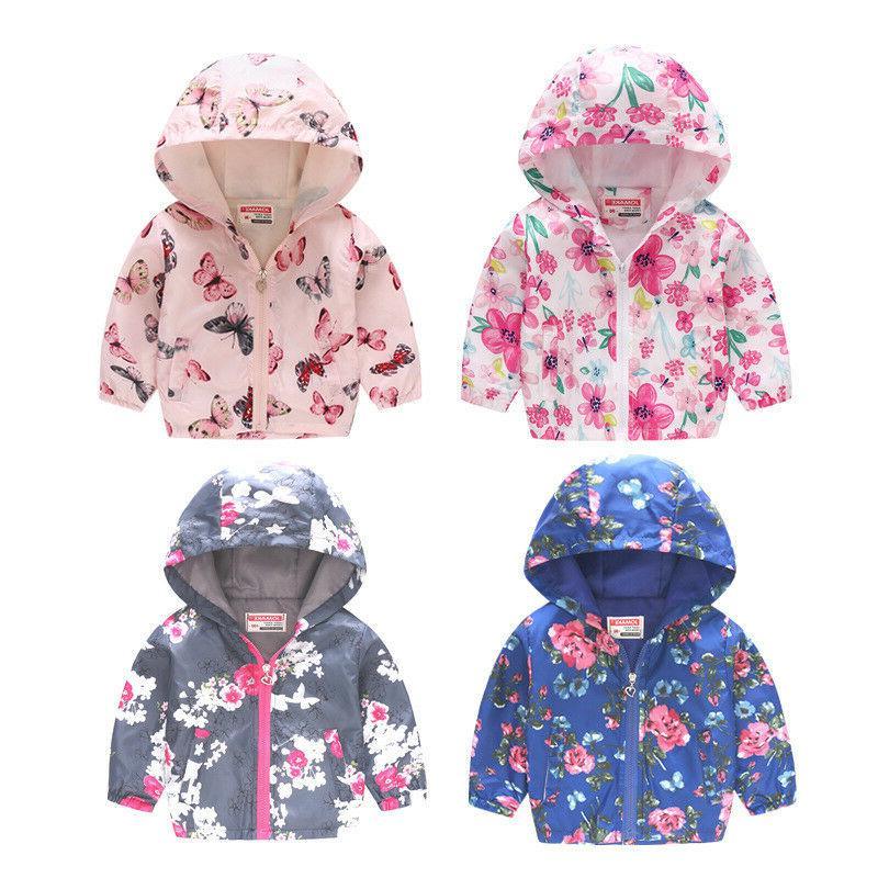 Toddler Kids Girls Boys Floral Raincoat Flower Rain Hooded C