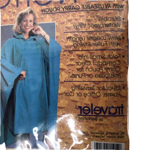 Traveler by Berkshire Blue Vinyl Poncho Raincoat Slicker/Rain