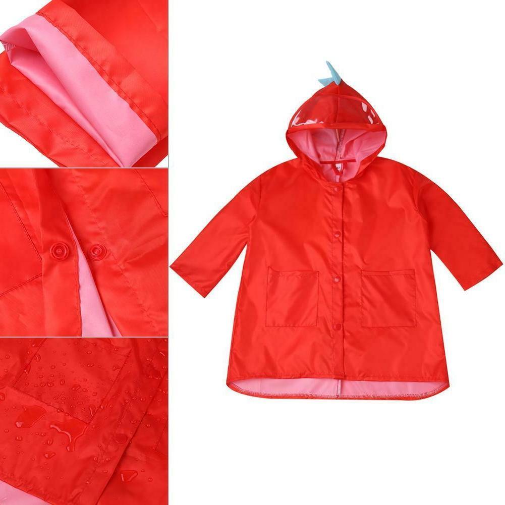 Unisex Boys Girls Children Dinosaur Raincoat Umbrella Kindergarten Coat