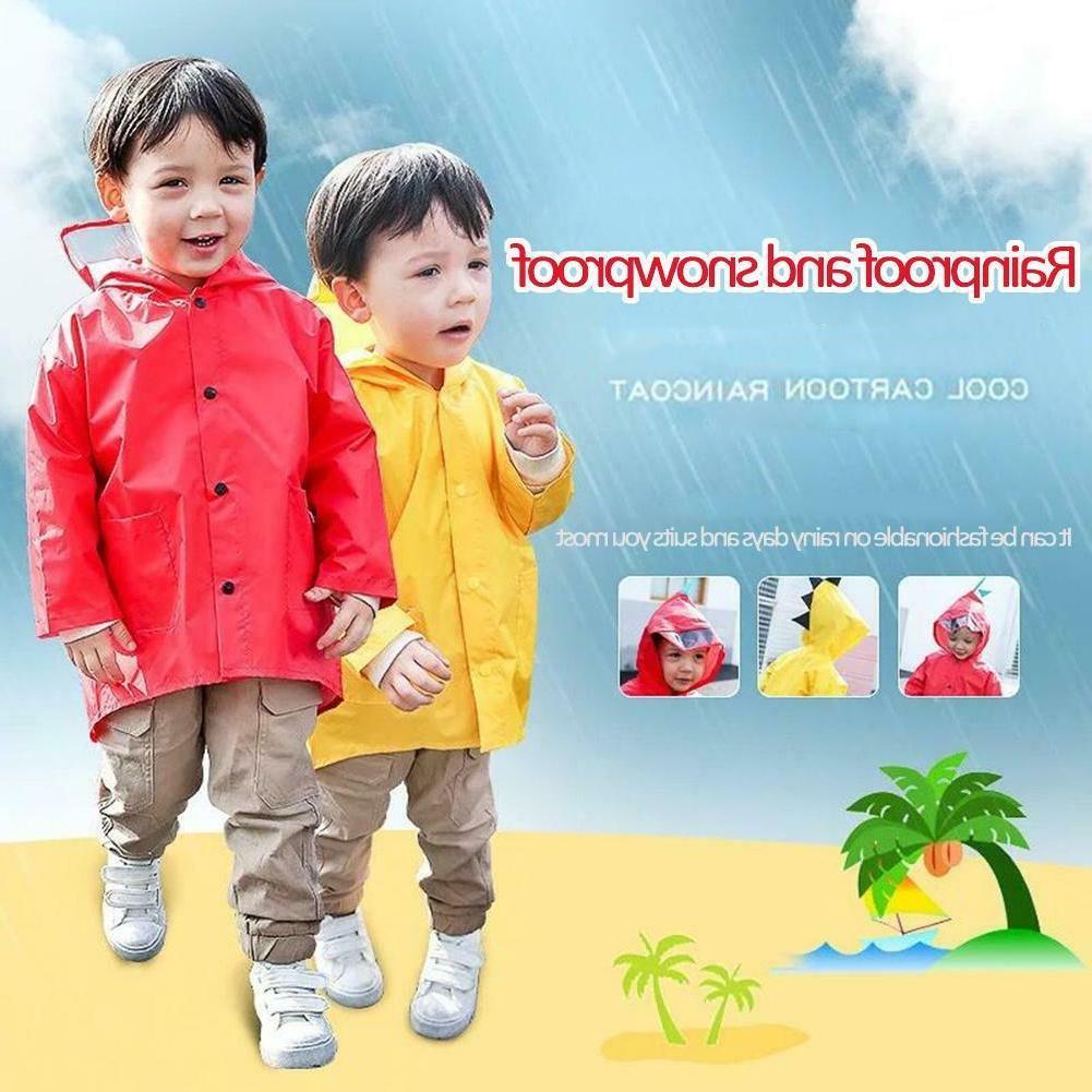 unisex boys girls kids children dinosaur raincoat