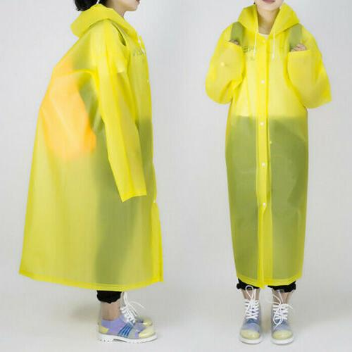 US Womens Long Waterproof Hooded Button Raincoat