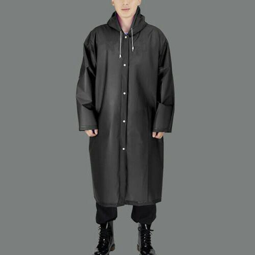 US Mens Long Waterproof Jacket Rain Hooded Outdoor