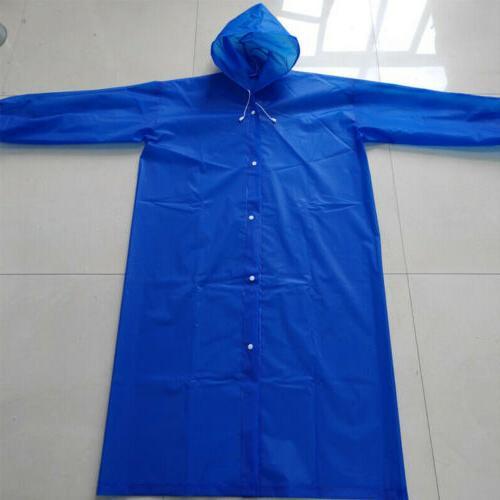 US Womens Waterproof Rain Coat Hooded Button