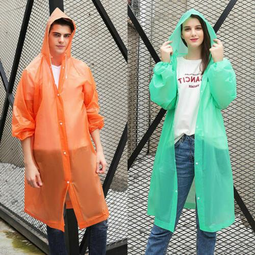 US NEW Women PE Raincoat Rain Coat Poncho Rainwear