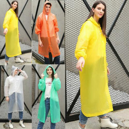 US NEW Waterproof Women PE Raincoat Rain Coat Poncho Rainwear