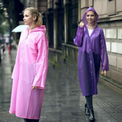 US Men Waterproof Jacket PE Hooded Raincoat Coat Poncho Rainwear