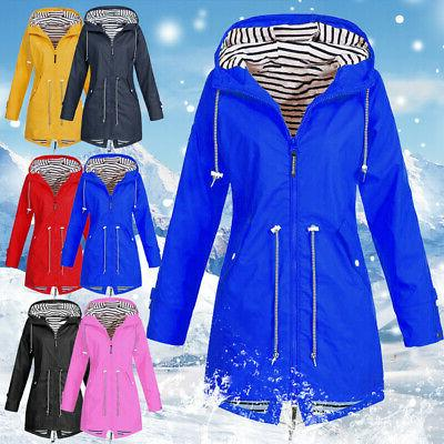 Warm Womens Ladies Hooded Windbreaker Jacket Outdoor Waterpr
