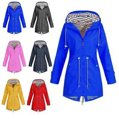 US Long Hooded Wind Jacket Waterproof Rain Plus Size