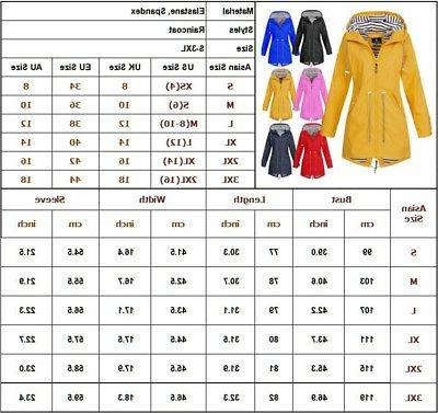 US Womens Long Sleeve Hooded Wind Waterproof Rain Size