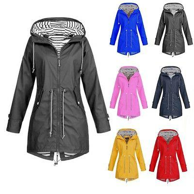 US Womens Hooded Wind Jacket Waterproof Rain Size