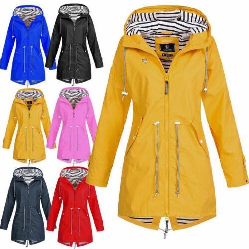 Warm Womens Ladies Hooded Windbreaker Jacket Rain Coat Solid
