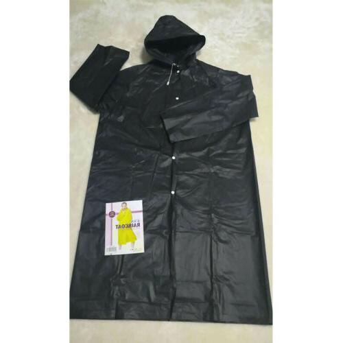 Waterproof Adult Men EVA Long Coat Poncho Black