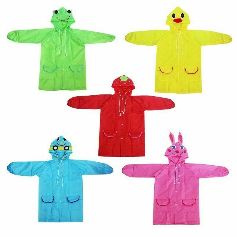 Children Cartoon Rain Coat Kids Rainwear Cute Baby Funny Wat