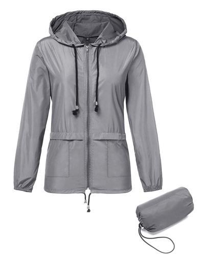 waterproof lightweight hooded outdoor rain jacket women