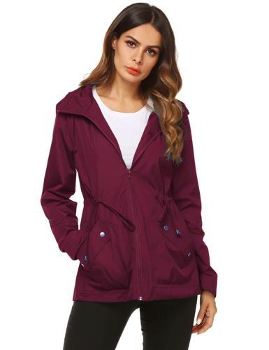 waterproof rain coat women modern jacket wine