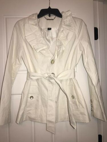 White House Black Market White Ruffled Belted Lined Trench R