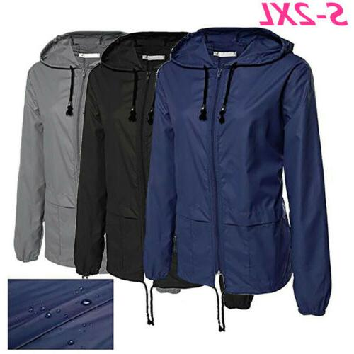 women jacket waterproof hooded outdoor camping windbreaker