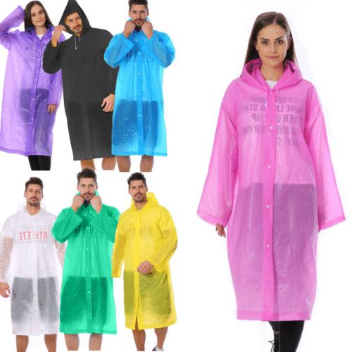 Women/Men Waterproof PE Hooded Rainwear