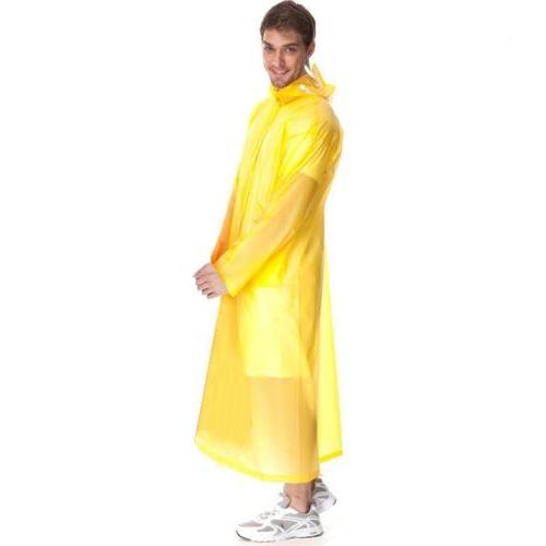 Women Waterproof Clear PVC Coat Hooded Poncho