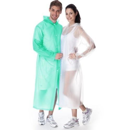 Women Waterproof Clear PVC Raincoat Coat Rainwear