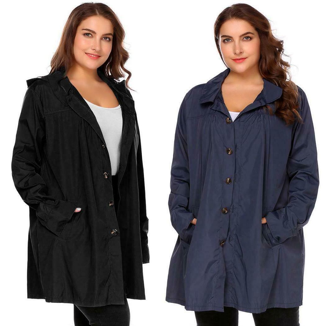 Women Size Hooded Long Lightweight Raincoat OK