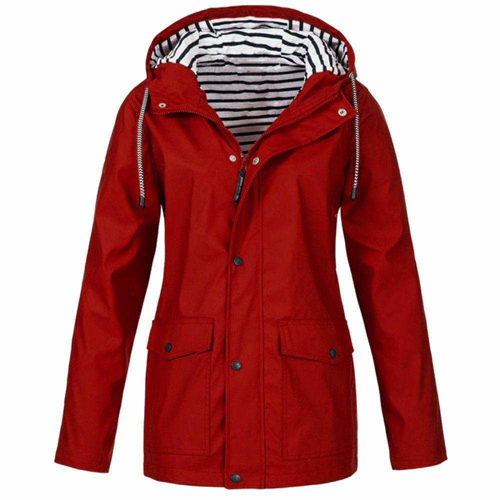 Women Outdoor Hooded Rain-coat Windproof Plus