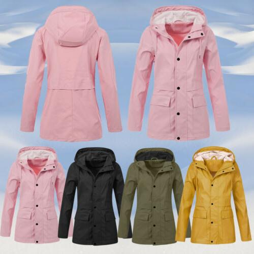 Women Rain OutdoorWaterproof Hooded Raincoat Windproof Plus