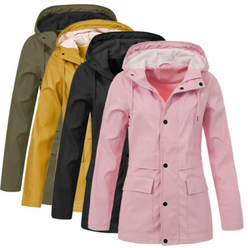 Women Hooded Raincoat Plus Size US