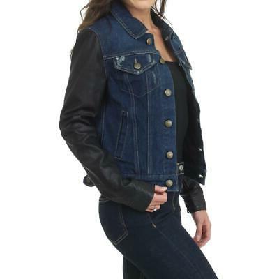 Laundry Women's Leather Distressed Denim Jacket