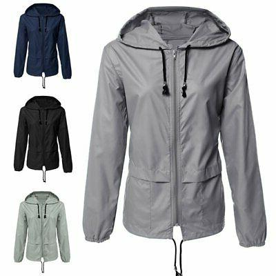 Women Raincoat Windproof Waterproof Jacket Windbreaker Hoode