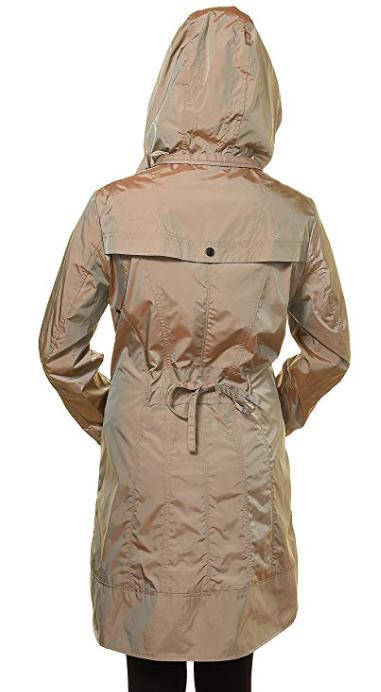 Cole Women's Hoodie Packable Rain Trench Coat Topaz Khaki NWT