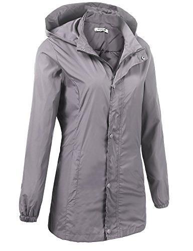 Beyove Women's Packable Outdoor Coat Rain Grey