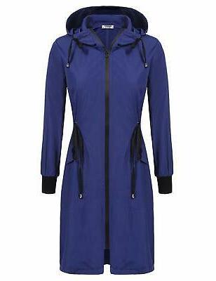 women s lightweight waterproof long raincoat hood