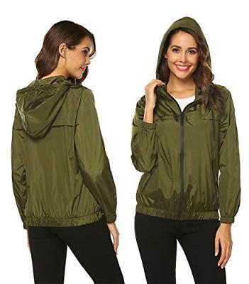 Hotouch Raincoats Womens Hooded Zip-up Jackets Rain L