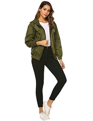 Hotouch Raincoats Womens Hooded Zip-up Jackets Active