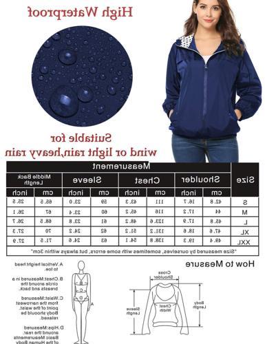 LOMON Women's Packable Waterproof Rain Jacket with ZipperNavy