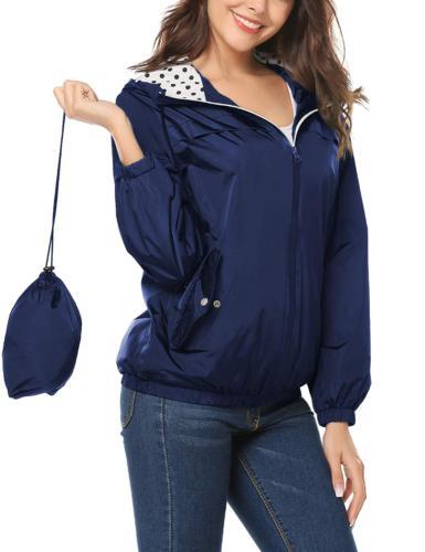 LOMON Women's Waterproof Rain Jacket Outdoor with ZipperNavy
