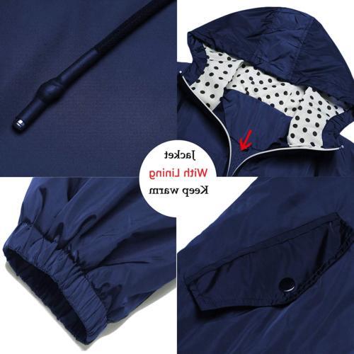 LOMON Women's Packable Rain Outdoor Raincoat with ZipperNavy